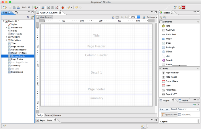 Screenshot of Jaspersoft Studio Report Designer