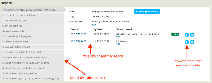 Screenshot showing ReportBro report management as part of a web application